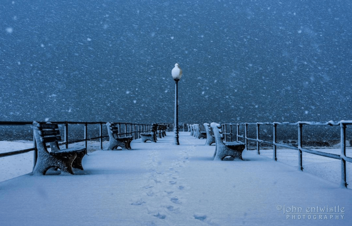 A Snowy Ocean Grove Boardwalk