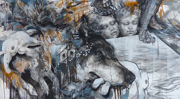 The War, charcoal, ink, acrylic and shel