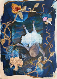 The Mooring, Cyanotype, ink, collage and
