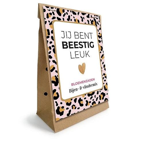 Valentijnsbox bloemenzaden & chocolade : jij bent beestig leuk