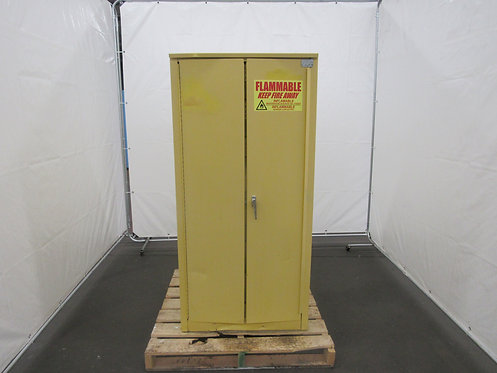 60- Gallon, Yellow Safety Storage Cabinet, Sliding, Self Closing Door, #Z-008