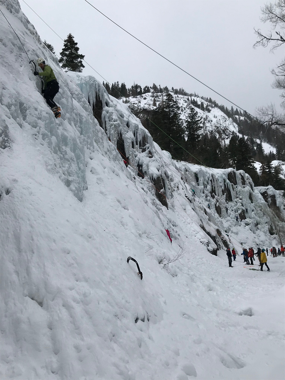 Ice climbing requires teamwork!