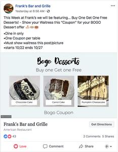 frank's bar and grille BOGO dessert coupon
