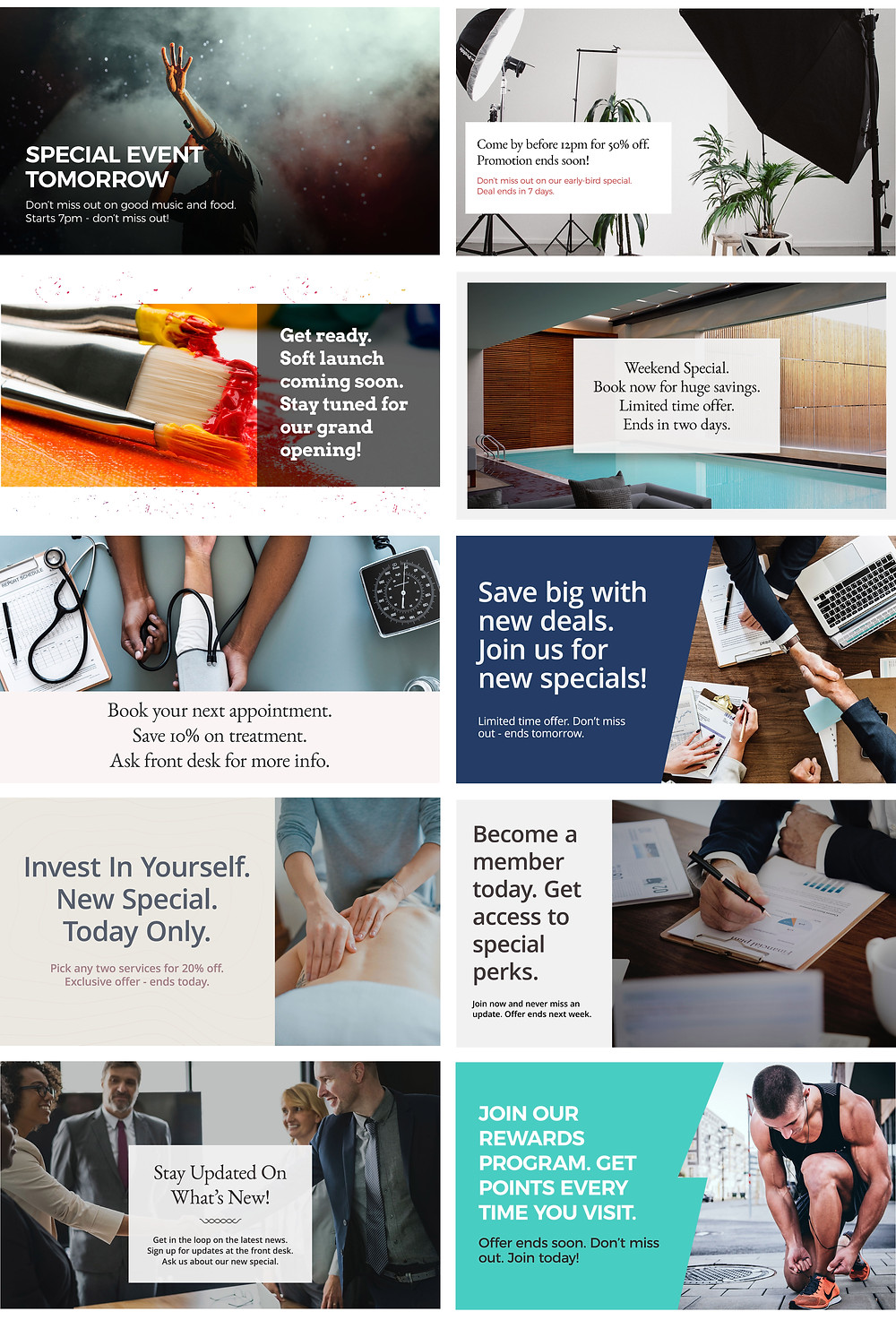 Promota digital signage new business templates