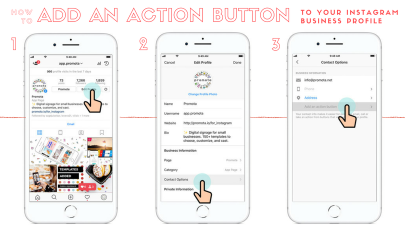 How to add an action button for Instagram business