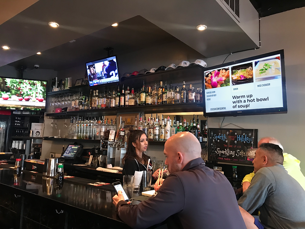 Sushi Confidential uses digital signage for menu specials