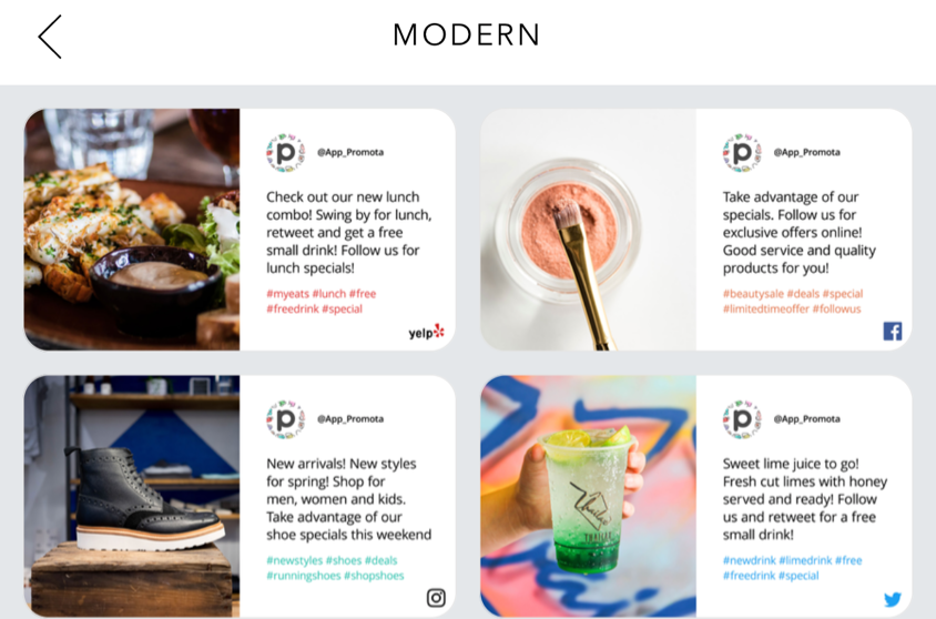 Tap the 'Modern 'category to view and choose from all new templates.