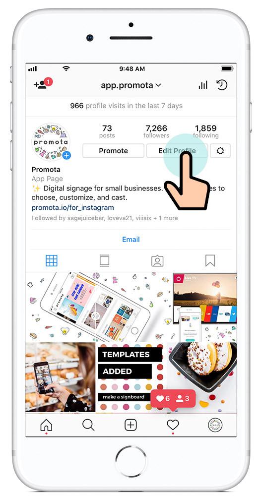 Tap edit profile on your Instagram bio