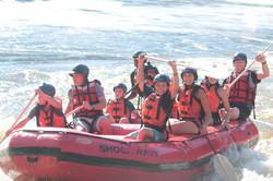 Happy rafting family