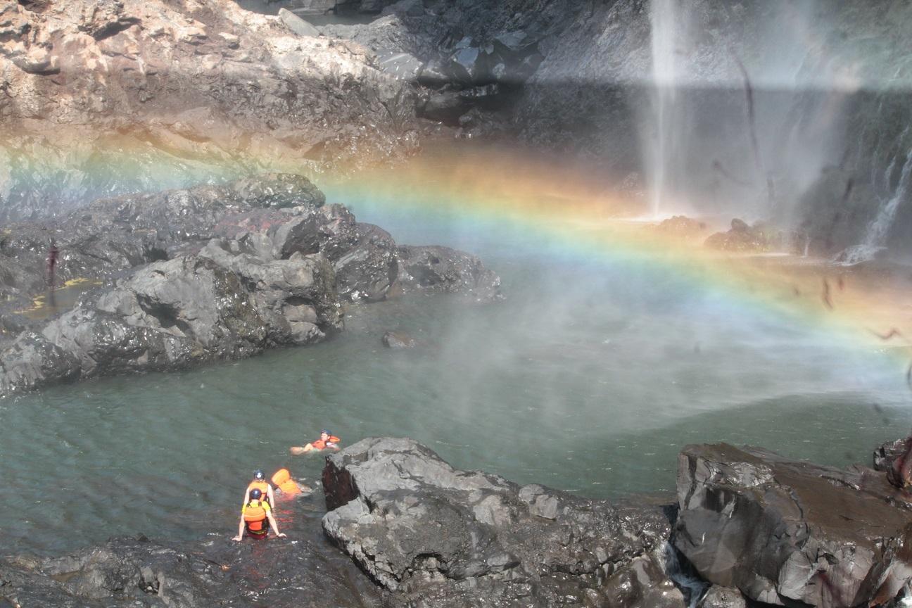 Swimming under rainbow