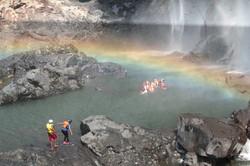 Swimming under rainbow 1