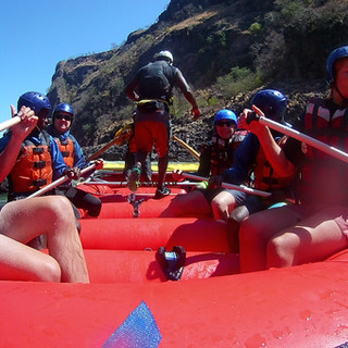 On a calm stretch while rafting