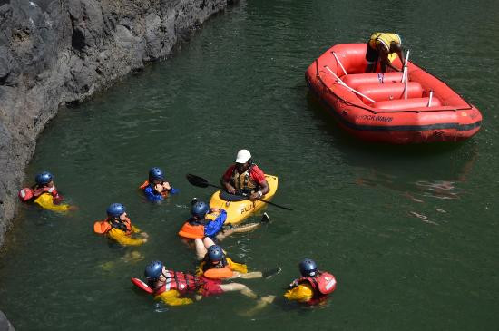 Safety Kayaker Demo before rafting starts