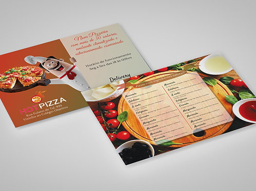Modelo Panfleto Pronto Pizzaria - 2 Lados - c/ Cardápio - Chef Pizza