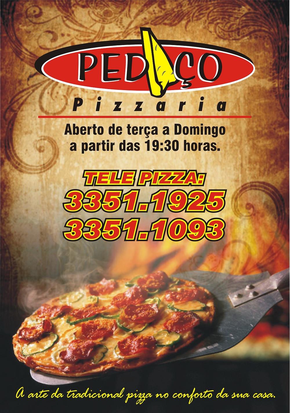 Panfleto pizzaria com a logo destacada