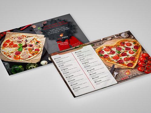 Modelo Panfleto Pronto Pizzaria - 2 Lados - c/ Cardápio - Selo de Qualidade