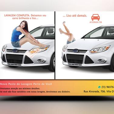 Panfleto criativo Posto Lavagem Automóveis / Carro Lava Rápido