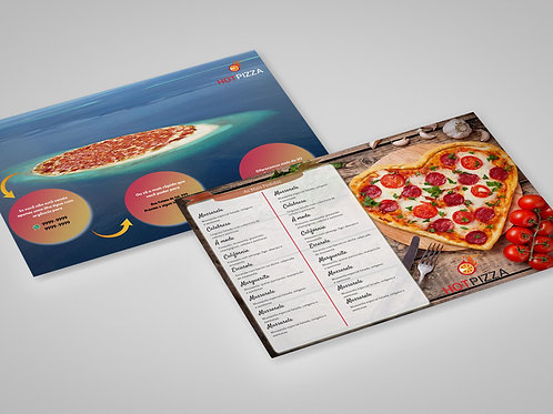 Modelo Panfleto Pronto Pizzaria - 2 Lados - c/ Cardápio - Deliciosa Ilusão