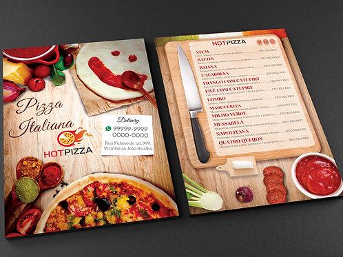 Modelo Panfleto Pronto Pizzaria - 2 Lados - c/ Cardápio - Pizza Italiana