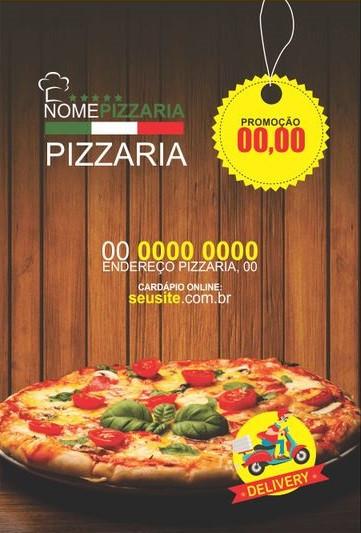 panfleto de pizzaria com imagem trivial