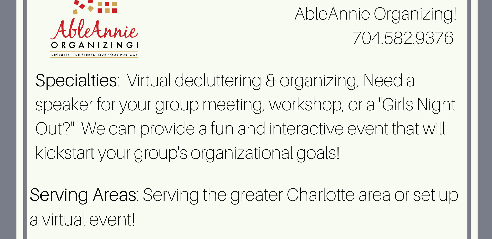 Able Annie Organizing!