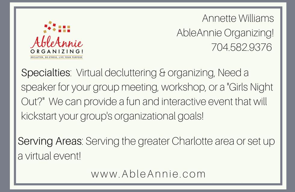 Able Annie Organizing!
