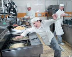 cook falling in kitchen
