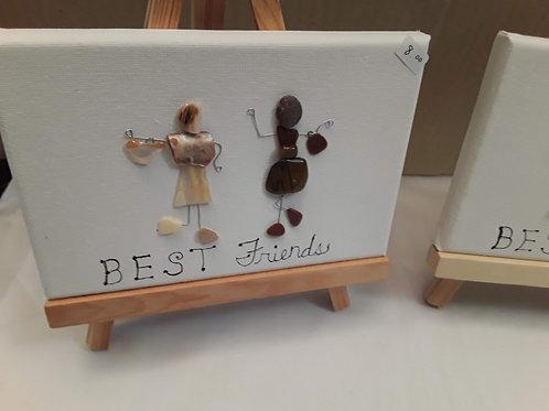 Mixed media Art -BEST FRIENDS Canvas w/easel