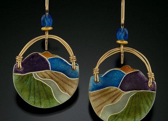 Cloisonne enamel landscape earrings