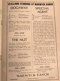 Ad for Marwyck Ranch: 1940 Thoroughbred Breeding Magazine courtesy of Art Jacobs
