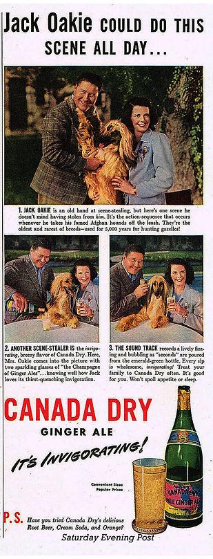 Jack and Venita Oakie at Oakridge Ginger Ale ad, 1942 Saturday Evening Post Oakvarden Afghan