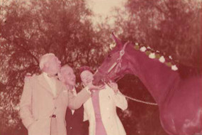 Parade of Stallions event at Northridge Farms with Jimmy Durante, guests and Thoroughbred Schnoz Durante  circa 1955