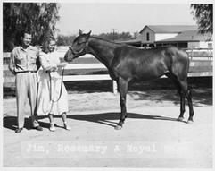 Jim+Rosemary (Ryan) Jordan with Royal Rage c. 1950