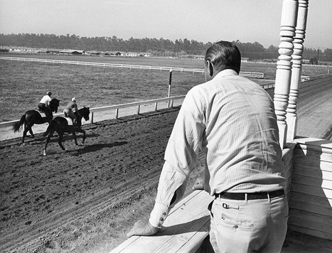Exercise riders on Northridge Farms training track - 6 furlongs - c. 1960