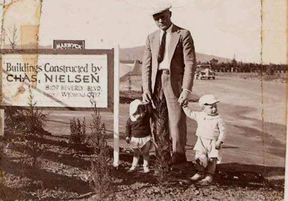 Charles Nielson with his children John and Marie.  Marwyck Ranch,  10127 Reseda Blvd.  Photo courtesy of Rhonda Mohr.  c. 1937