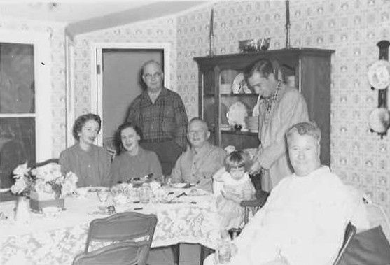 Rosemary Jordan (Ryan), Mr. and Mrs Travis Kerr of Oklahoma, JH Ryan, Cheryl Jordan, Jim Jordan and Jack Oakie at the Ryan's dinner table c. 1950
