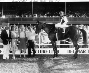 Harry S. Hart's Royal Eiffel wins the Del Mar mile in 1964, Jerry Lambert up.  Desi Arnez and Lucille Ball, left