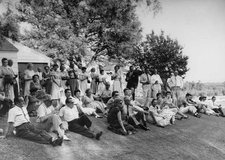 Guests at Sunday Bar-B-Que at Northridge Farms c. 1955.  Judy Garland is in sunglasses at far right
