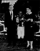J.H. Ryan, Jerry Lambert, Annette Ryan at Santa Anita