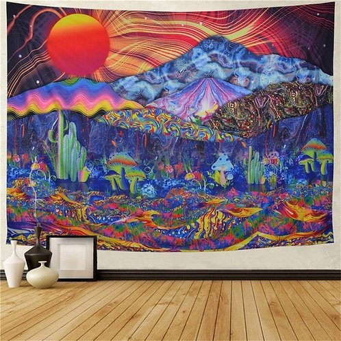 Psychedelic Tapestry Trippy Mushrooms Tapestry Colorful Mountain Landscape