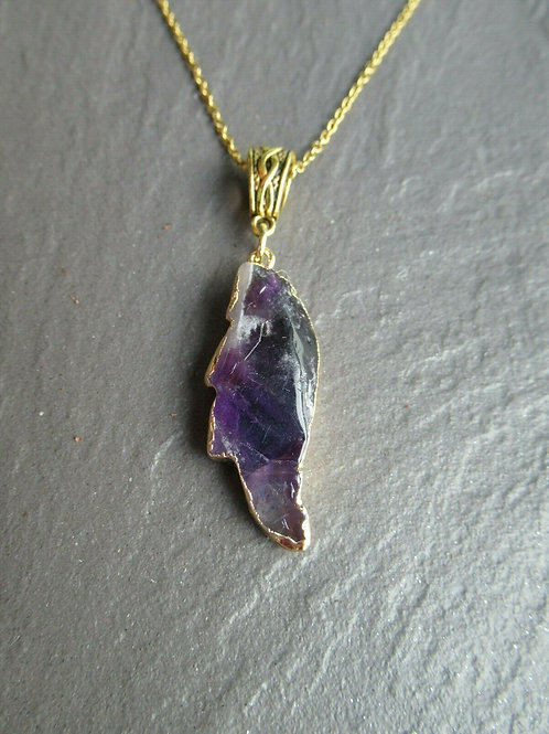 "22"" Amethyst Angel Wing Pendant Necklace"