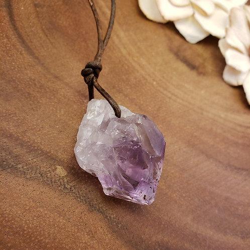 "24"" Raw Amethyst Necklace, Crystal Pendant"