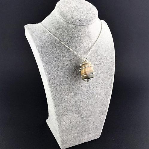 Picture Jasper Sandstone Silver Plated Spiral Necklace