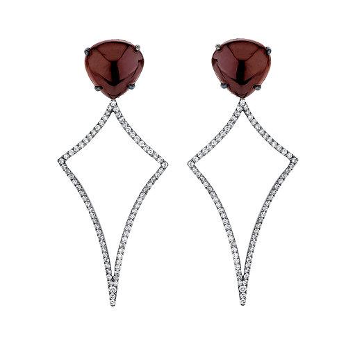 Red Garnet Heart Earrings
