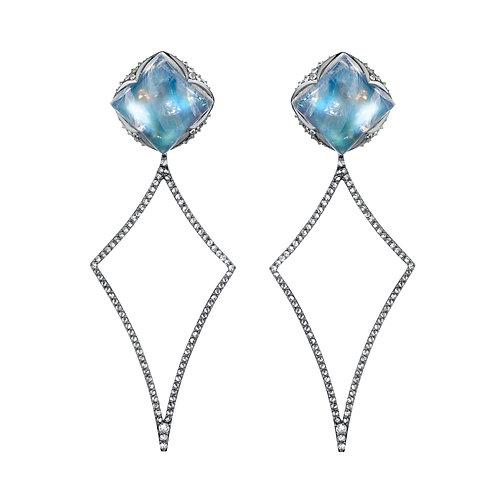 Blue Moonstone Rhombus Earrings