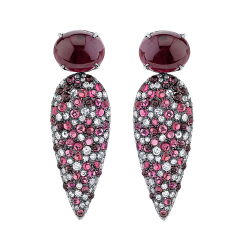 Rhodolite & Diamond Earrings