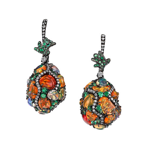 Fire Opal Egg-drop earrings
