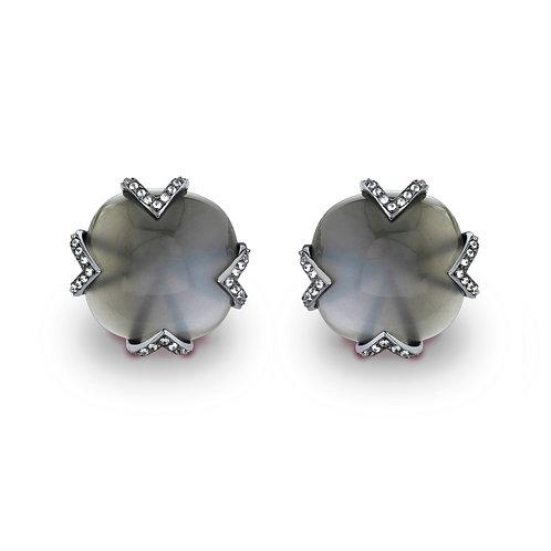 Grey Moonstone Square Cushion Earrings