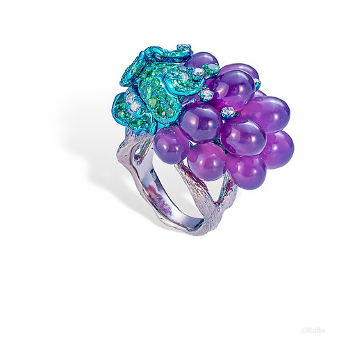 "Chalcedony ""Grapes on a Vine"" Ring"