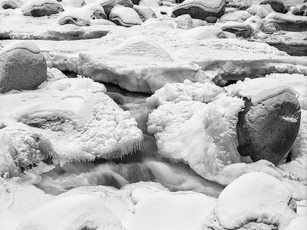 Ice laden boulders of the Little Susitna River.  RB67 Pro SD, 90mm Sekor, Kodak TMax 400.